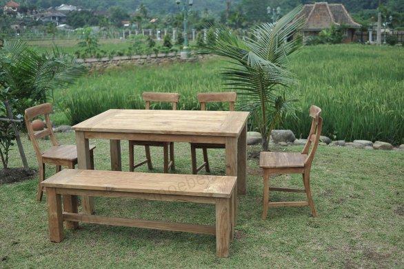 Gartentisch 140x90cm mit 4 Stühle und Bank - Bild 1
