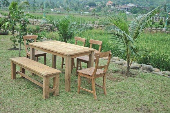 Gartentisch 140x90cm mit 4 Stühle und Bank - Bild 2