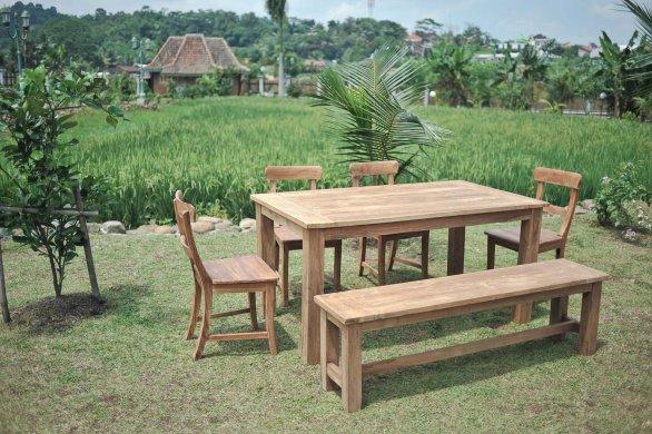 Gartentisch 140x90cm mit 4 Stühle und Bank - Bild 0