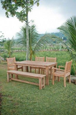 Gartentisch 160x90cm mit 4 Beaufort Stühle und Bank - Bild 1