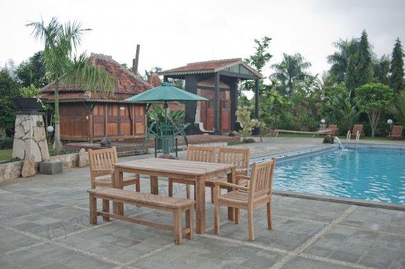 Gartentisch 160x90cm mit 4 Beaufort Stühle und Bank - Bild 2
