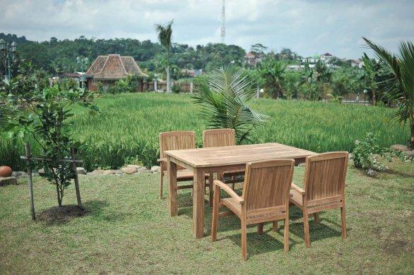 Gartentisch 160x90cm mit 4 Stapelstühle - Bild 1