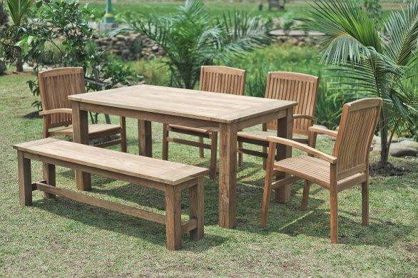 Gartentisch 160x90cm mit 4 Stapelstühle und Bank - Bild 0