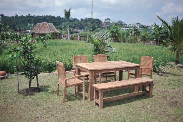 Gartentisch 160x90cm mit 4 Stapelstühle und Bank - Bild 1