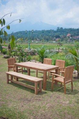 Gartentisch 180x90cm mit 4 Stapelstühle und Bank - Bild 1