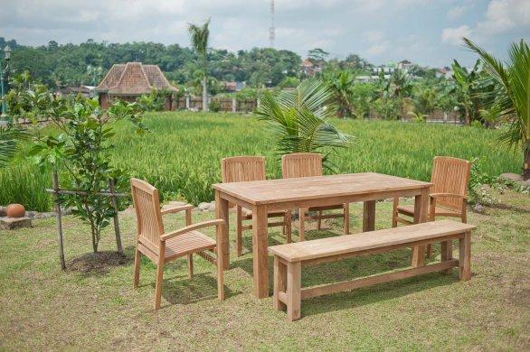 Gartentisch 180x90cm mit 4 Stapelstühle und Bank - Bild 0