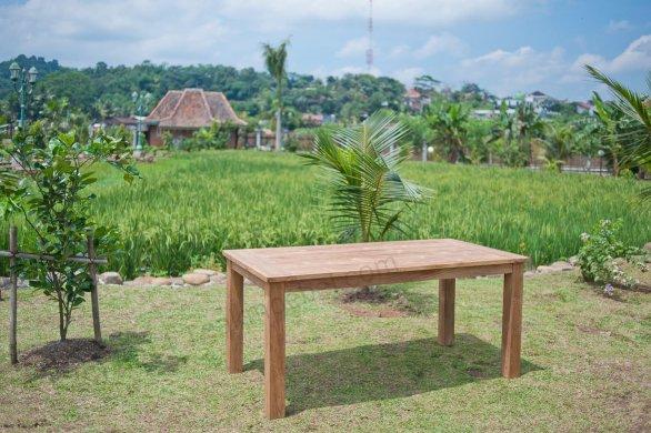 Gartentisch 180x90cm mit 4 Stapelstühle und Bank - Bild 2