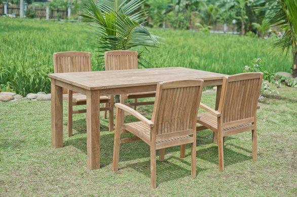 Gartentisch 180x90cm mit 4 Stapelstühle - Bild 0