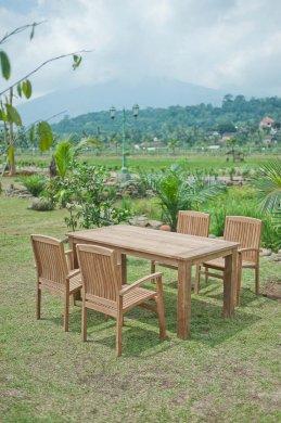 Gartentisch 180x90cm mit 4 Stapelstühle - Bild 1