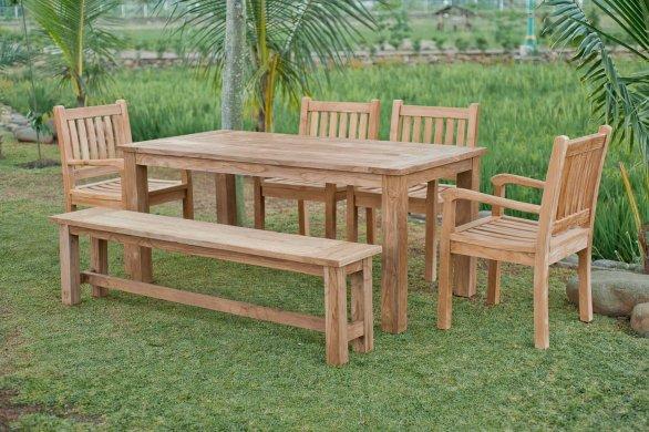 Gartentisch 180x90cm mit 4 Beaufort Stühle und Bank - Bild 0
