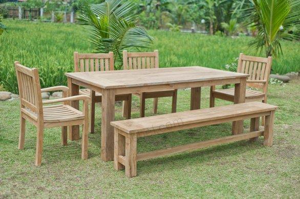 Gartentisch 200x100cm mit 4 Beaufort Stühle und Bank - Bild 0