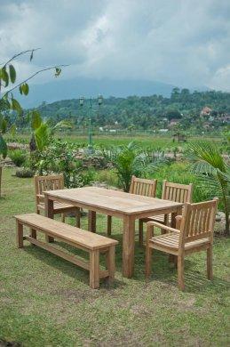 Gartentisch 200x100cm mit 4 Beaufort Stühle und Bank - Bild 3