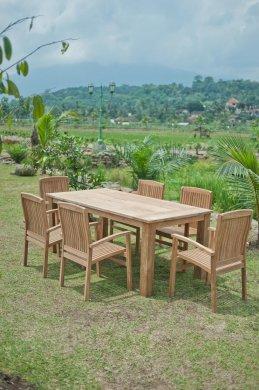 Gartentisch 200x100cm mit 6 Stapelstühle - Bild 4