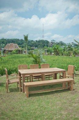 Gartentisch 220x100cm mit 5 Stapelstühle und Bank - Bild 1