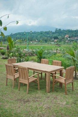 Gartentisch 220x100cm mit 6 Stapelstühle - Bild 4