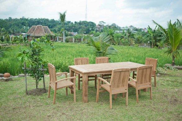 Gartentisch 220x100cm mit 6 Stapelstühle - Bild 3