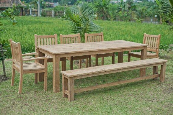 Gartentisch 240x100cm mit 5 Beaufort Stühle und Bank - Bild 1
