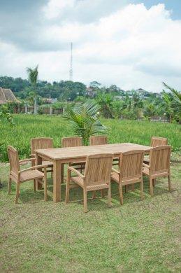 Gartentisch 240x100cm mit 8 Stapelstühle - Bild 2