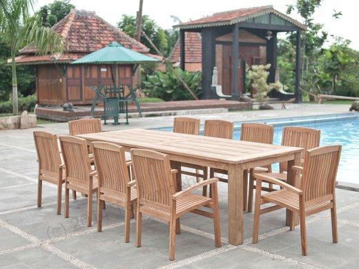 Gartentisch 280x100cm mit 10 Stapelstühle - Bild 0