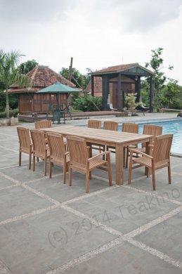 Gartentisch 280x100cm mit 10 Stapelstühle - Bild 1