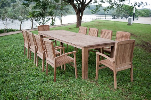 Gartentisch 300cm mit 10 Stapelstühle - Bild 0