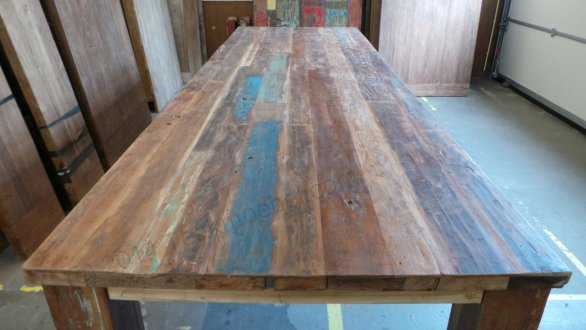 Holztisch aus alten Fischerbooten 300cm  Teakmoebel.com