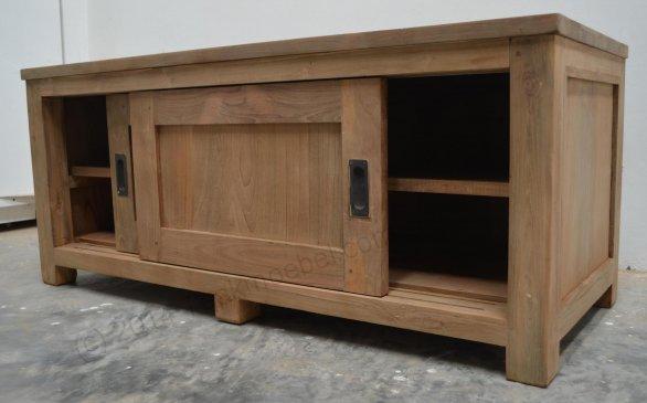 Teak Fernsehmöbel Schiebetüren 120 x 50 x 50 cm - Bild 4