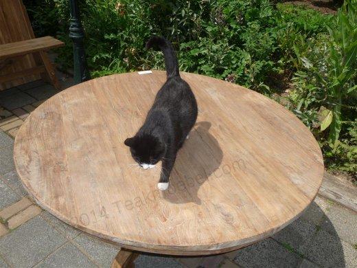 Teak-Tisch rund  Ø 140 cm altes Holz - Bild 1