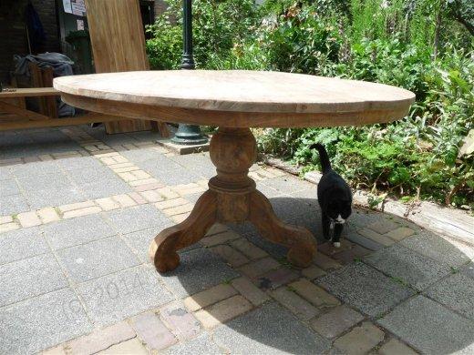 Teak-Tisch rund  Ø 140 cm altes Holz - Bild 10