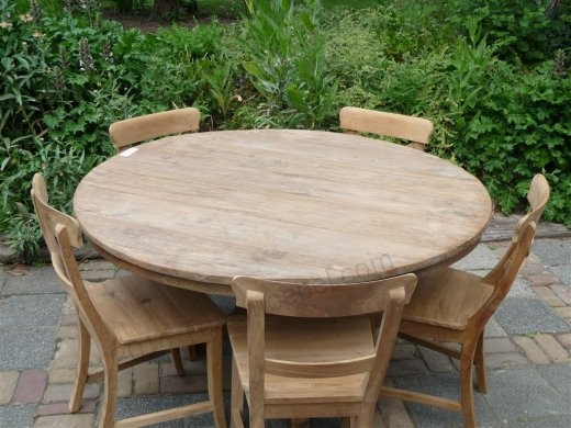 Teak-Tisch rund  Ø 140 cm altes Holz - Bild 4