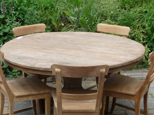 Teak-Tisch rund  Ø 140 cm altes Holz - Bild 8