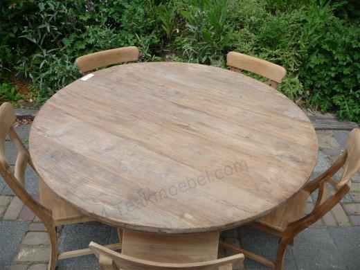 Teak-Tisch rund  Ø 140 cm altes Holz - Bild 9