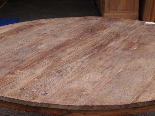 Teak Tisch rund Ø 180 cm altes Holz - Bild 1