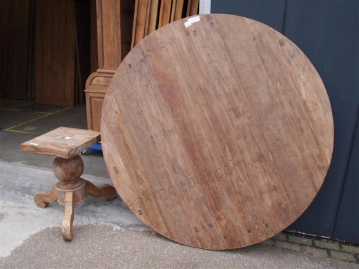 Teak Tisch rund Ø 180 cm altes Holz - Bild 12