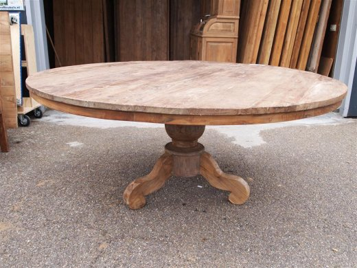 Teak Tisch rund Ø 180 cm altes Holz - Bild 0