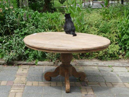 Teak-Tisch rund  Ø 140 cm altes Holz - Bild 0