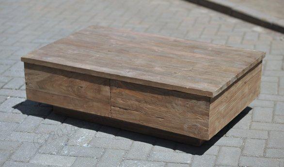 Teak Couchtisch BLOK gebürstet 120x80cm - Bild 1