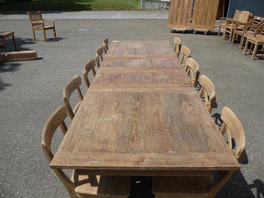 Teak Tisch altes Holz 200 - 250 - 300 x 100 cm ausziehbar - Bild 6