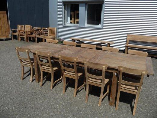 Teak Tisch altes Holz 200 - 250 - 300 x 100 cm ausziehbar - Bild 9