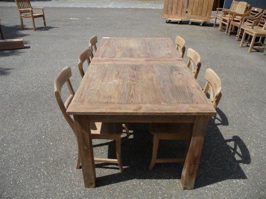 Teak Tisch altes Holz 200 - 250 - 300 x 100 cm ausziehbar - Bild 8