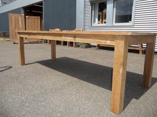 Teak Tisch mit Schubladen 260 x 100 cm - Bild 3