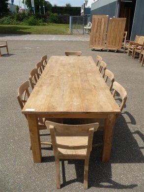 Teak Tisch mit Schubladen 260 x 100 cm - Bild 1