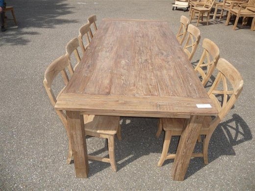 Teak Tisch altes Holz 240 x 100 cm - Bild 0