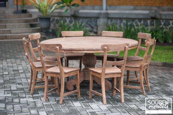 Teak Tisch rund Dingklik 160 + 8 Stühle - Bild 0