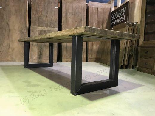 Teak Esstisch 300x100 mit Stahlbeinen - Bild 2