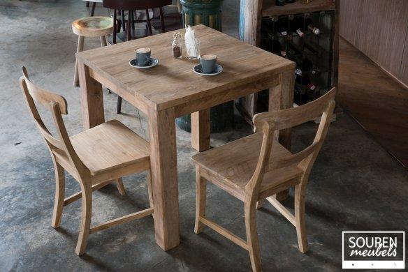 Teak Tisch 80x80 + 2 Stühle - Bild 0