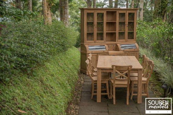 Teak Tisch 200x100 + 8 Stühle Kreuz + Schrank 210 - Bild 0