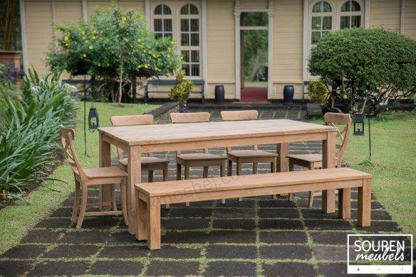 Teak Tisch 200x100 + 5 Stühle Kreuz + Bank 200 - Bild 0