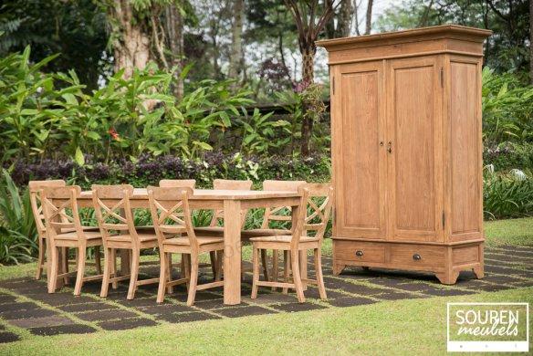 Teak Tisch 200x100 + 8 Stühle Kreuz + Schrank 120 - Bild 0