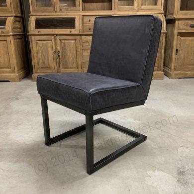 Leder Stuhl Carbon Black - Bild 0